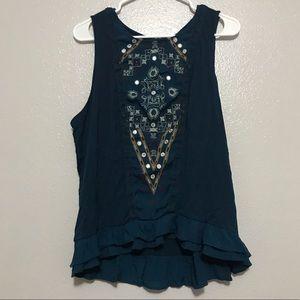 Knox Rose Teal Embroidered Sleeveless Peplum Top